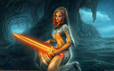 World Of Warcraft Girl With Glowing Sword Fantasy Art