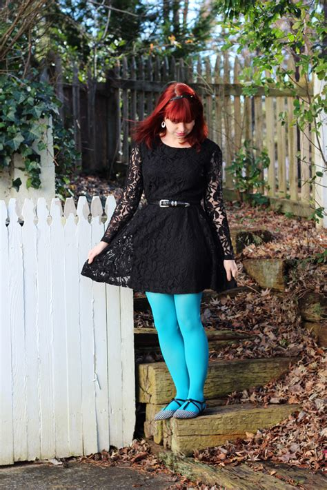Black Lace Dress, Neon Blue Tights, Houndstooth Flats, & a