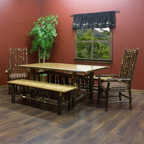 Solid Wood Hickory Log Dining Table