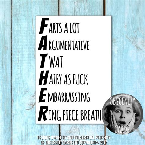 FUNNY FATHER CARD - Farts a lot, Argumentative, Ring piece