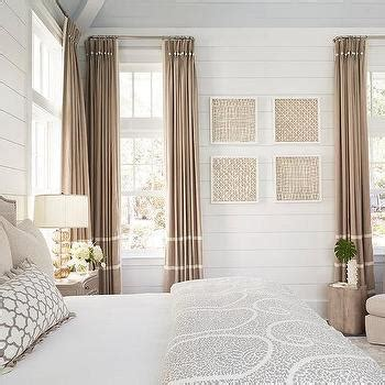 Gray French Doors with White Curtains - Transitional - Bedroom