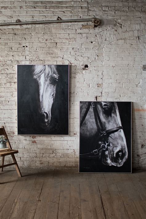 black and white horse profile view with silver frame / oil