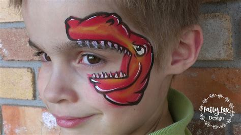 One-stroke T Rex Face Painting Tutorial - YouTube