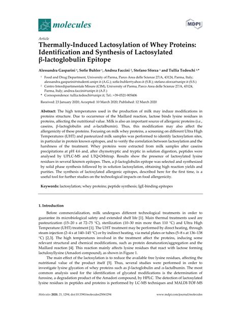 (PDF) Thermally-Induced Lactosylation of Whey Proteins