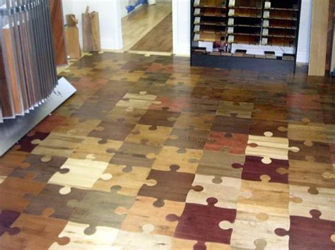 Flooring idea Looks like puzzle pieces out of wood