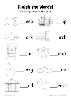 Words with CH - Phonics Activities and Printable Teaching