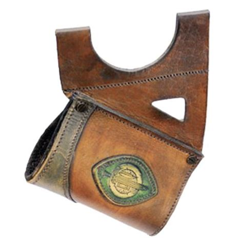 LeatherWorks Hanger Brown with Green Leather Mount   Larp