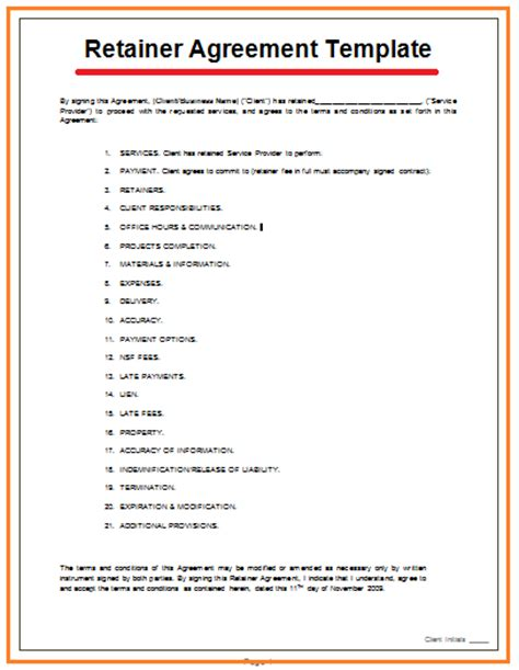 Retainer Agreement Template   Free Agreement Templates