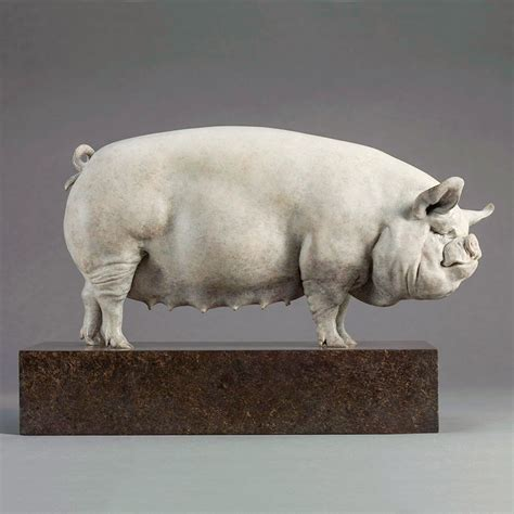 Middle White Pig - Ltd Edition Bronze Sculpture by Nick Bibby