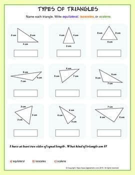 Types of Triangles (equilateral, scalene, or isosceles