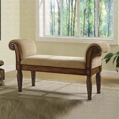 Coaster Upholstered Bench with Rolled Arms - 100224