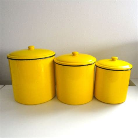 Kitchen Canisters Yellow Enamel Canister Storage for Flour
