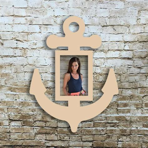 Wooden Anchor Picture Frame, Unfinished Wood Picture Frame