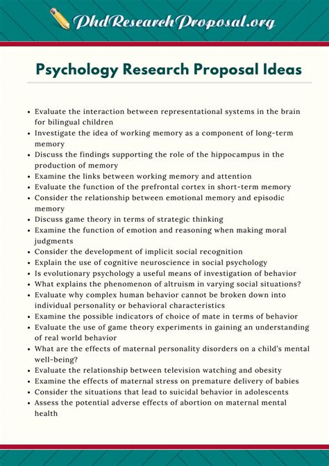 Psychology Research Proposal Ideas by PhD Research
