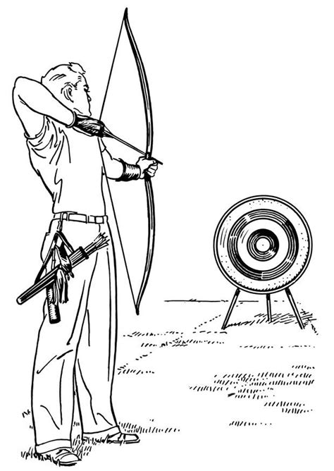 Coloring Page bow and arrow - free printable coloring